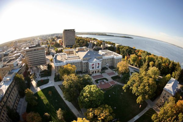 Aerial view of UW-Madison campus